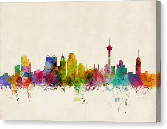 Urban Canvas Print - San Antonio Texas Skyline by Michael Tompsett