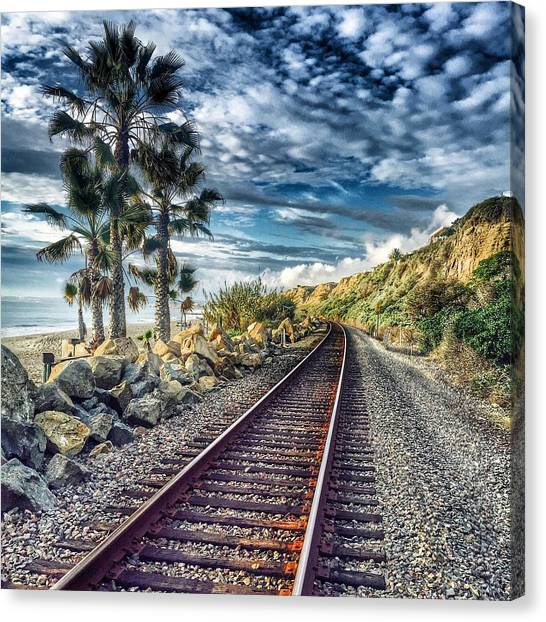 Palm Trees Canvas Print - San Clemente Tracks by Hal Bowles