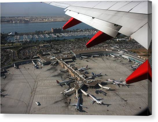 San Diego Airport Plane Wheel Canvas Print