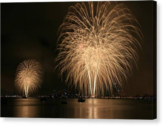 San Diego Bay Fireworks Canvas Print