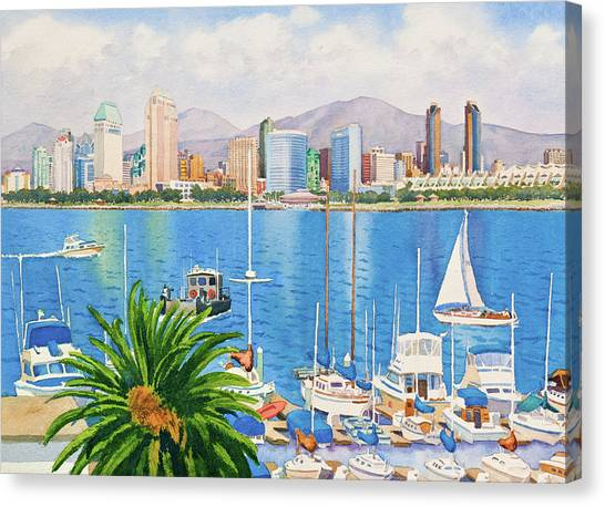 Marinas Canvas Print - San Diego Skyline by Mary Helmreich