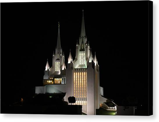 San Diego Mormon Temple At Night Canvas Print