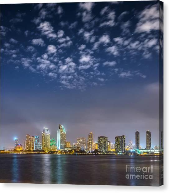 San Diego Night Skyline With Stars Canvas Print