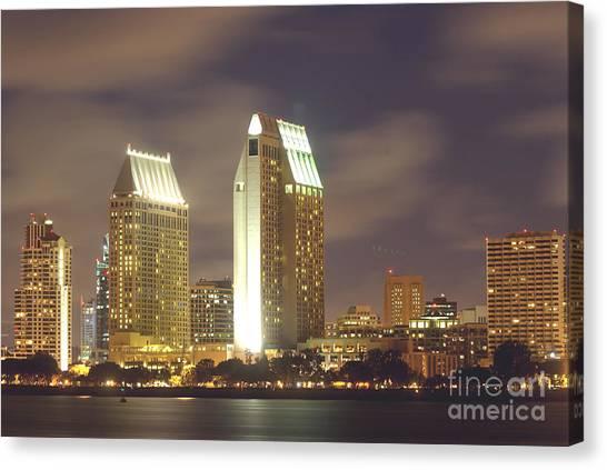 San Diego Nightscape  1-0635 Canvas Print by Stephen Parker
