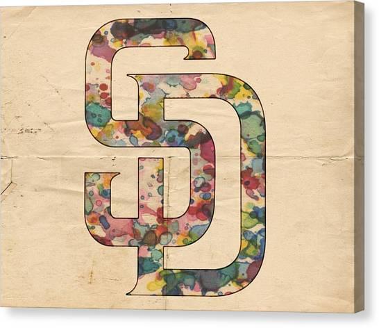 San Diego Padres Canvas Print - San Diego Padres Logo Vintage by Florian Rodarte