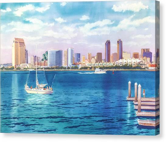 San Diego Canvas Print - San Diego Skyline And Convention Ctr by Mary Helmreich