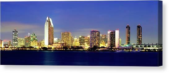 Mission San Diego Canvas Print - San Diego Skyline At Dusk, Viewed by John Alves