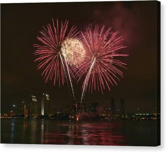 San Diego Skyline Fireworks Canvas Print