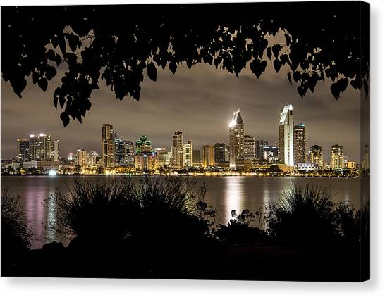 San Diego Skyline Framed 2 Canvas Print