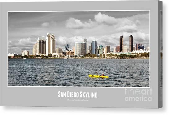 San Diego Skyline - Poster Style Canvas Print