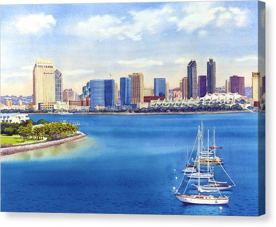 Skylines Canvas Print - San Diego Skyline With Meridien by Mary Helmreich
