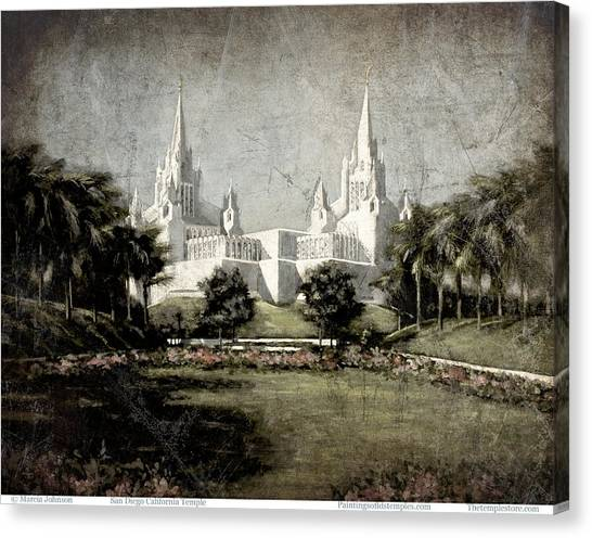 San Diego Temple Antique Canvas Print