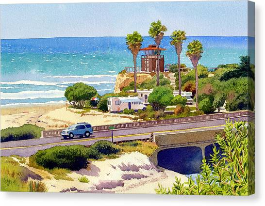 Coast Guard Canvas Print - San Elijo Campground Cardiff by Mary Helmreich