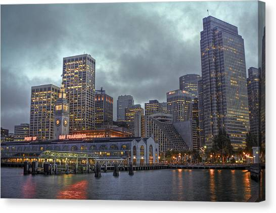 San Francisco Port All Lit Up Canvas Print
