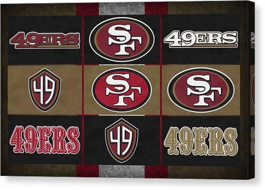 San Francisco 49ers Canvas Print - San Francisco 49ers Uniform Patches by Joe Hamilton