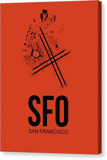Travel Canvas Print - San Francisco Airport Poster 2 by Naxart Studio