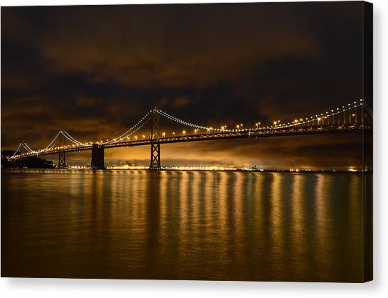 San Francisco - Bay Bridge At Night Canvas Print