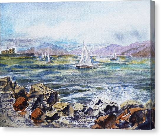 Irina Canvas Print - San Francisco Bay From Richmond Shore Line by Irina Sztukowski