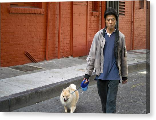 San Francisco Chinatown Dog Walker Canvas Print by Christopher Winkler