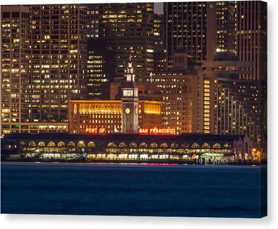 San Francisco Ferry Building At Night.  Canvas Print