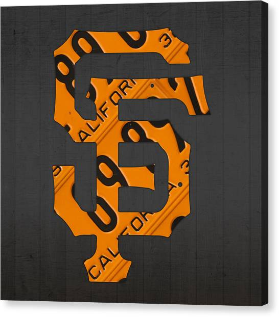 Sports Canvas Print - San Francisco Giants Baseball Vintage Logo License Plate Art by Design Turnpike