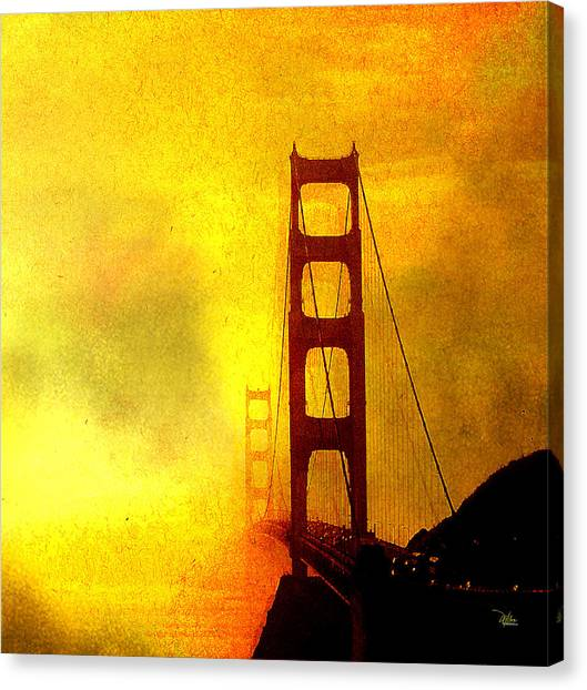San Francisco Golden Gate Bridge Commute In Sun And Fog Canvas Print