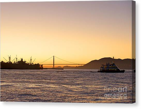 San Francisco Harbor Golden Gate Bridge At Sunset Canvas Print