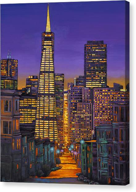 Night Lights Canvas Print - San Francisco by Johnathan Harris