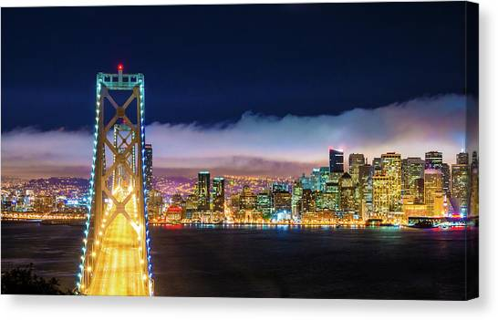 San Francisco Skyline Panorama And Canvas Print by Dszc