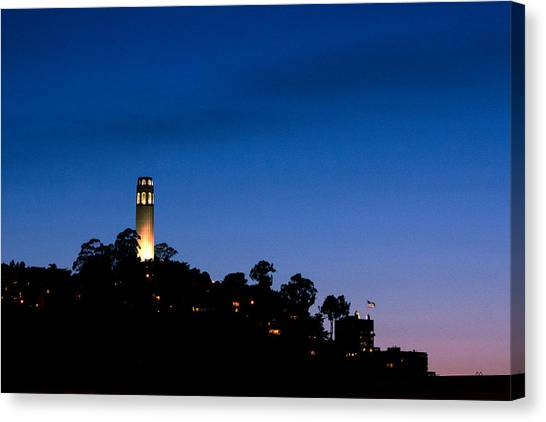 San Francisco's Coit Tower At Night Canvas Print by SFPhotoStore