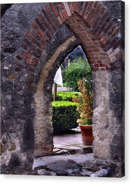 San Jose Mission View To The Past Canvas Print by Ed Golden