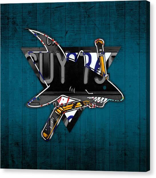 Hockey Teams Canvas Print - San Jose Sharks Hockey Team Retro Logo Vintage Recycled California License Plate Art by Design Turnpike