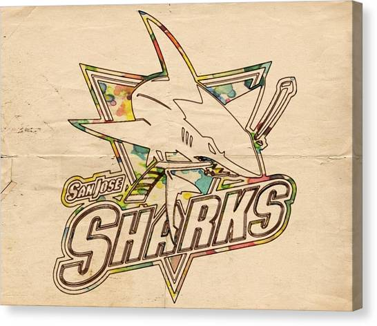 Sharks Canvas Print - San Jose Sharks Vintage Poster by Florian Rodarte