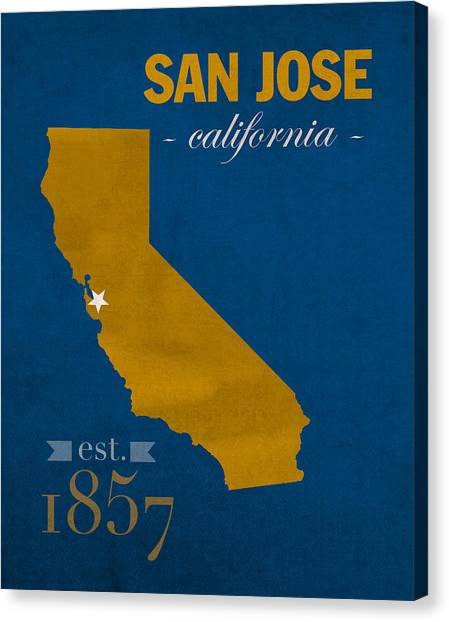San Jose State University Canvas Print - San Jose State University California Spartans College Town State Map Poster Series No 094 by Design Turnpike
