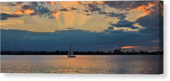 San Juan Bay Sunset And Sailboat Canvas Print