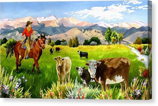 Cowboy Canvas Print - San Juan Valley by Anne Gifford