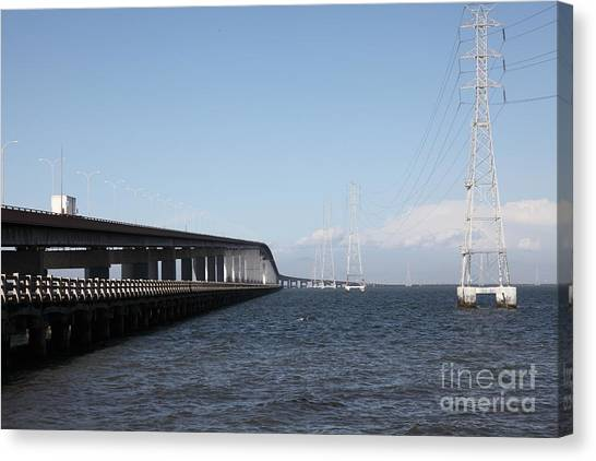 San Mateo Bridge In The California Bay Area 5d21893 Canvas Print by Wingsdomain Art and Photography