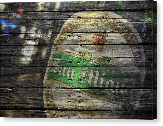 Beer Can Canvas Print - San Miguel by Joe Hamilton