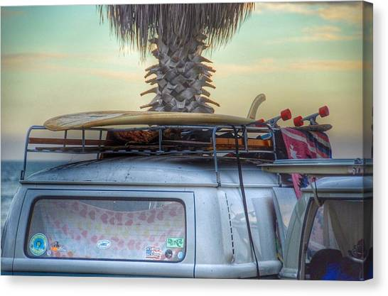 Vw Bus Canvas Print - Lazy Sunday by Hal Bowles