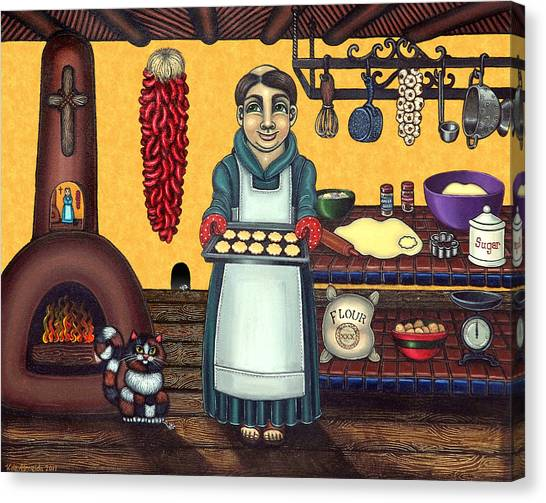 Priests Canvas Print - San Pascual Making Biscochitos by Victoria De Almeida