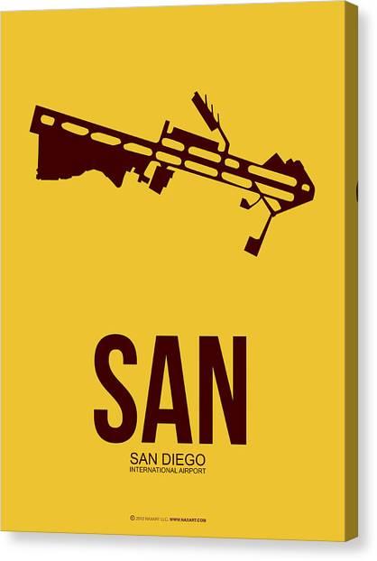 San Diego Canvas Print - San San Diego Airport Poster 1 by Naxart Studio