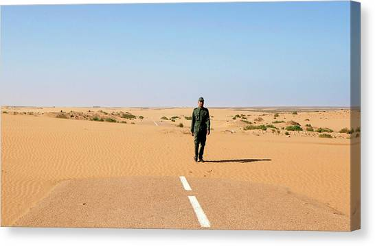 Sahara Desert Canvas Print - Sand-covered Road by Thierry Berrod, Mona Lisa Production