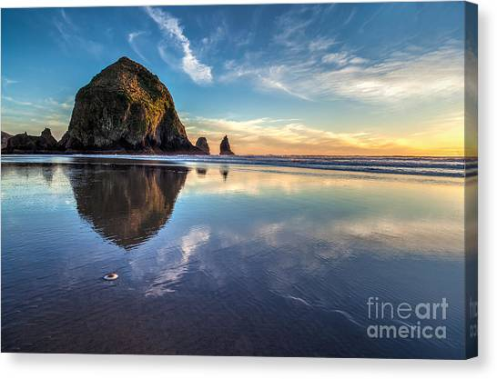 Haystack Rock Canvas Print - Sand Dollar Sunset Repose by Mike Reid
