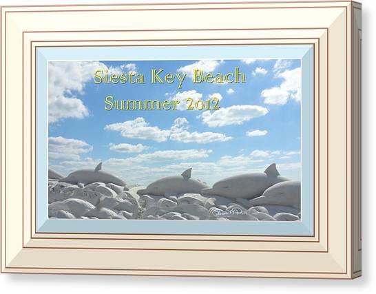 Sand Dolphins - Digitally Framed Canvas Print