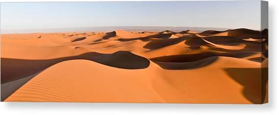 Sahara Desert Canvas Print - Sand Dunes In A Desert, Erg Chigaga by Panoramic Images