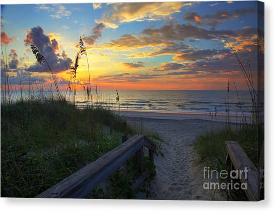 Sand Dunes On The Seashore At Sunrise - Carolina Beach Nc Canvas Print