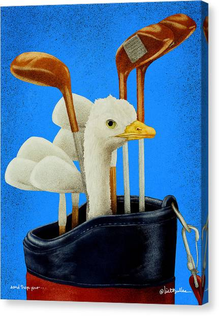 Ostriches Canvas Print - Sand Trap Pro... by Will Bullas
