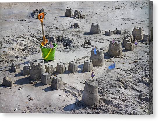 Sand Castles Canvas Print - Sandcastle Squatters by Betsy Knapp