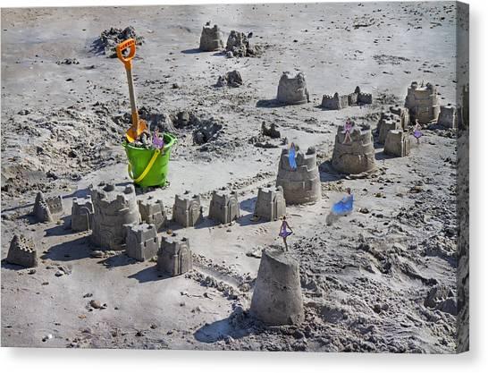 Shovels Canvas Print - Sandcastle Squatters by Betsy Knapp