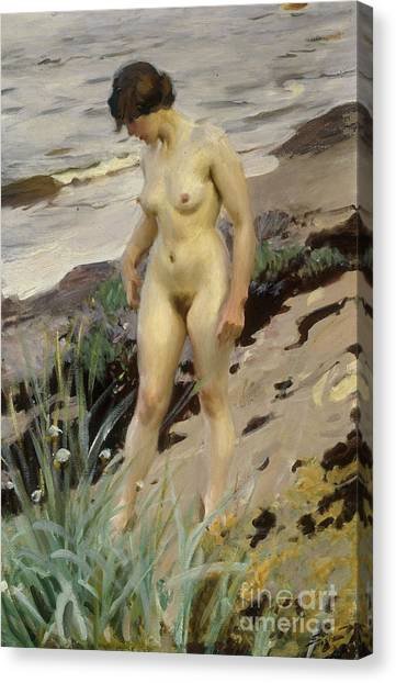 Naked Woman Canvas Print - Sandhamn Study by Anders Leonard Zorn